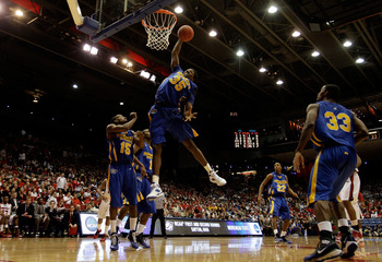 DAYTON, OH - MARCH 20: Kenneth Faried #35 of the Morehead State Eagles gets a rebound against the Louisville Cardinals during the first round of the NCAA Division I Men's Basketball Tournament at the University of Dayton Arena on March 20, 2009 in Dayton,