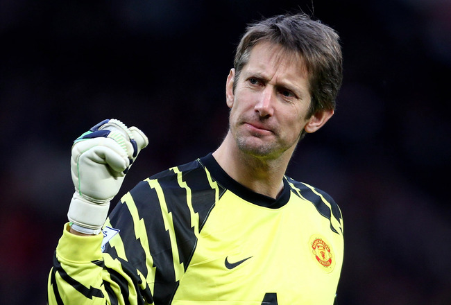 MANCHESTER, ENGLAND - DECEMBER 26:   Edwin van der Sar of Manchester United celebrates his team's opening goal during the Barclays Premier League match between Manchester United and Sunderland at Old Trafford on December 26, 2010 in Manchester, England. (