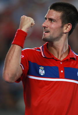 PERTH, AUSTRALIA - JANUARY 04:  Novak Djokovic of Serbia celebrates winning a game during his singles match against Lleyton Hewitt of Australia on day four of the Hopman Cup on January 4, 2011 in Perth, Australia.  (Photo by Paul Kane/Getty Images)