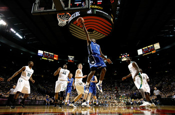 PORTLAND, OR - NOVEMBER 27:  Kyrie Irving #1 of the Duke Blue Devils goes for a layup against  the Oregon Ducks on November 27, 2010 at the Rose Garden in Portland, Oregon.  (Photo by Jonathan Ferrey/Getty Images)