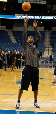 TAMPA, FL - OCTOBER 22:  Forward Rashard Lewis #9 of the Orlando Magic  warms up prior to the NBA preseason game against the Miami Heat at the St. Pete Times Forum on October 22, 2010 in Tampa, Florida. NOTE TO USER: User expressly acknowledges and agrees