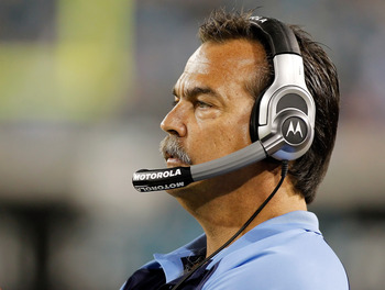 JACKSONVILLE, FL - OCTOBER 18:  Head coach Jeff Fisher of the Tennessee Titans directs his team along the sideline against the Jacksonville Jaguars during the game at EverBank Field on October 18, 2010 in Jacksonville, Florida.  (Photo by J. Meric/Getty I