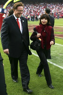 SAN FRANCISCO - NOVEMBER 19:  Dr. John York (L) and Denise DeBartolo York leave the ceremony held in Jerry Rice's honor during half time of the NFL game between the San Francisco 49ers and the Seattle Seahawks at Monster Park on November 19, 2006 in San F