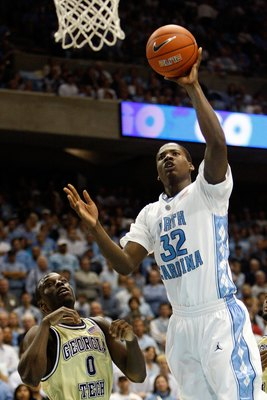 CHAPEL HILL, NC - JANUARY 16:  Ed Davis #32 of the North Carolina Tar Heels puts a shot up during their game against the Georgia Tech Yellow Jackets at the Dean Smith Center on January 16, 2010 in Chapel Hill, North Carolina.  (Photo by Streeter Lecka/Get