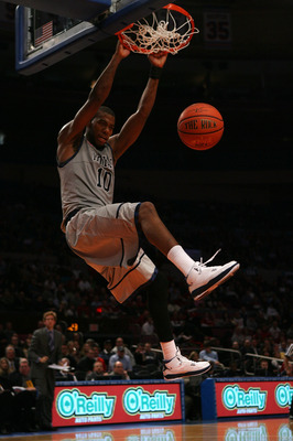 NEW YORK - DECEMBER 08:  Greg Monroe #10 of the Georgetown Hoyas dunks the ball against the Butler Bulldogs during the Jimmy V Classic at Madison Square Garden on December 8, 2009 in New York, New York.  (Photo by Chris Trotman/Getty Images)