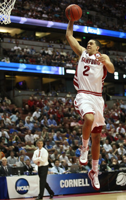ANAHEIM, CA - MARCH 20:  Landry Fields #2 of the Stanford Cardinal drives to the basket over the defense of the Cornell Big Red during the South Region first round of the NCAA Basketball Tournament at the Honda Center on March 20, 2008 in Anaheim, Califor