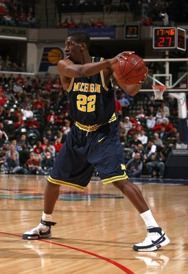 INDIANAPOLIS - MARCH 14:  Ekpe Udoh #22 of the Michigan Wolverines against the Wisconsin Badgers  during the Big Ten Men's Basketball Tournament at Conseco Fieldhouse on March 14, 2008 in Indianapolis, Indiana.  (Photo by Jonathan Daniel/Getty Images)