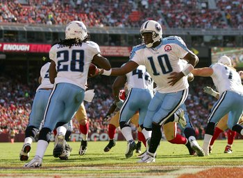 SAN FRANCISCO - NOVEMBER 08:  Vince Young #10 of the Tennessee Titans hands the ball off to Chris Johnson #28 during their game against the San Francisco 49ers at Candlestick Park on November 8, 2009 in San Francisco, California.  (Photo by Ezra Shaw/Gett