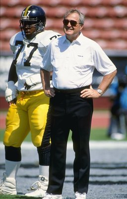 23 Sep 1990:  Pittsburgh Steelers head coach Chuck Noll looks on during a game against the Los Angeles Raiders at  the Los Angeles Memorial Coliseum in Los Angeles, California.  The Raiders won the game, 20-3. Mandatory Credit: Ken Levine  /Allsport