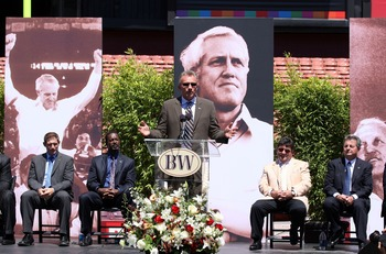 SAN FRANCISCO - AUGUST 10:  (L-R) Former San Francisco 49er players Steve Young, Dwight Hicks, Joe Montana along with former owner Eddie DeBartolo and former executive Carmen Policy attend a public memorial service for former 49ers coach Bill Walsh August