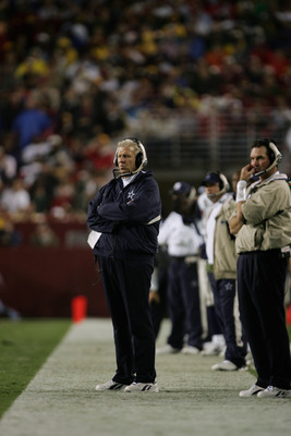 LANDOVER, MD - SEPTEMBER 27: Coach Bill Parcells of the Dallas Cowboys watches the field during the game with the Washington Redskins at FedEx Field on September 27, 2004 in Landover, Maryland. The Cowboys defeated the Redskins 21-18. (Photo by Doug Pensi