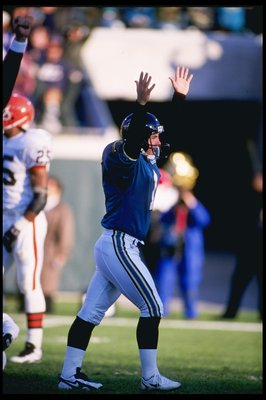 24 Dec 1995:  Kicker Mike Hollis of the Jacksonville Jaguars celebrates after a kicking the game winning field goal against the Cleveland Browns at Jacksonville Stadium in Jacksonville, Florida.  The Jaguars won the game 24-21. Mandatory Credit: Scott Hal