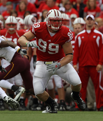 MADISON, WI - SEPTEMBER 18: J.J. Watt #99 of the Wisconsin Badgers rushes against the Arizona State Sun Devils at Camp Randall Stadium on September 18, 2010 in Madison, Wisconsin. Wisconsin defeated Arizona State 20-19. (Photo by Jonathan Daniel/Getty Ima