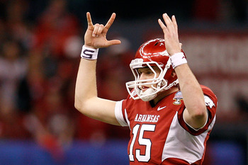 NEW ORLEANS, LA - JANUARY 04:  Quarterback Ryan Mallett #15 of the Arkansas Razorbacks reacts after throwing a 22-yard touchdown to Jarius Wright #4 against Devon Torrence #1 of the Ohio State Buckeyes in the third quarter during the Allstate Sugar Bowl a