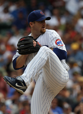 CHICAGO - SEPTEMBER 05: Starting pitcher Ryan Dempster #46 of the Chicago Cubs delivers the ball against the New York Mets at Wrigley Field on September 5, 2010 in Chicago, Illinois. (Photo by Jonathan Daniel/Getty Images)