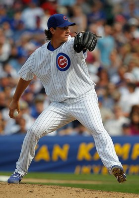 CHICAGO - APRIL 15: Jeff Samardzija of the Chicago Cubs, wearing a number 42 jersey in honor of Jackie Robinson, delivers the ball against the Milwaukee Brewers at Wrigley Field on April 15, 2010 in Chicago, Illinois. The Brewers defeated the Cubs 8-6. (P