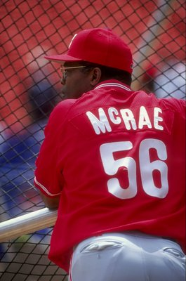 18 Jul 1998:   Coach Hal McRae #56 of the Philadelphia Phillies  practices batting during the game against the New York Mets at Shea Stadium in Flushing, New York. The Mets defeated the Phillies 7-0. Mandatory Credit: Ezra O. Shaw  /Allsport