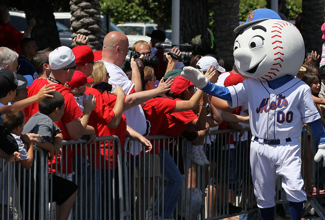 ANAHEIM, CA - JULY 13:  New York Mets mascot waves to fans during the 6th Annual MLB All-Star Red Carpet Show outside Angel Stadium of Anaheim on July 13, 2010 in Anaheim, California.  (Photo by Stephen Dunn/Getty Images)