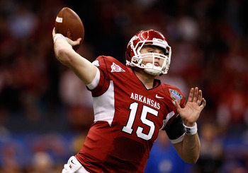 NEW ORLEANS, LA - JANUARY 04:  Ryan Mallett #15 of the Arkansas Razorbacks looks to pass in the second half against the Ohio State Buckeyes during the Allstate Sugar Bowl at the Louisiana Superdome on January 4, 2011 in New Orleans, Louisiana.  (Photo by