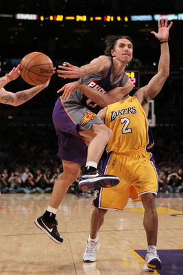 LOS ANGELES, CA - MAY 27:  Steve Nash #13 of the Phoenix Suns passes the ball against the Los Angeles Lakers in the first quarter of Game Five of the Western Conference Finals during the 2010 NBA Playoffs at Staples Center on May 27, 2010 in Los Angeles,