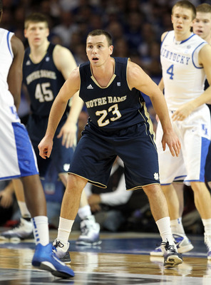 LOUISVILLE, KY - DECEMBER 08:  Ben Hansbrough #23 of the Notre Dame Fighting Irish plays defense during the game against the Kentucky Wildcats in the 2010 DIRECTV SEC/BIG EAST Invitational at Freedom Hall on December 8, 2010 in Louisville, Kentucky.  (Pho