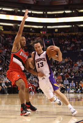 PHOENIX - DECEMBER 10:  Steve Nash #13 of the Phoenix Suns drives with the ball during the NBA game against the Portland Trail Blazers at US Airways Center on December 10, 2010 in Phoenix, Arizona. The Trail Blazers defeated the Suns 101-94.  NOTE TO USER