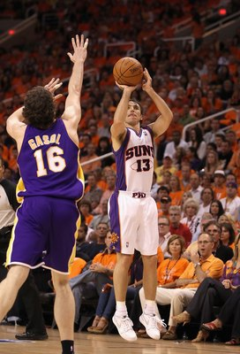 PHOENIX - MAY 29:  Steve Nash #13 of the Phoenix Suns puts up a shot during Game Six of the Western Conference finals of the 2010 NBA Playoffs against the Los Angeles Lakers at US Airways Center on May 29, 2010 in Phoenix, Arizona. The Lakers defeated the