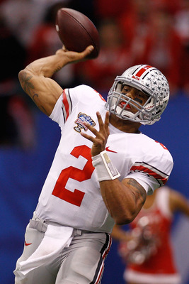 NEW ORLEANS, LA - JANUARY 04:  Terrelle Pryor #2 of the Ohio State Buckeyes passes the ball in the fourth quarter against the Arkansas Razorbacks during the Allstate Sugar Bowl at the Louisiana Superdome on January 4, 2011 in New Orleans, Louisiana.  (Pho
