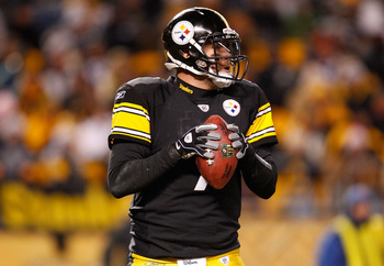 PITTSBURGH - DECEMBER 23:  Ben Roethlisberger #7 of the Pittsburgh Steelers drops back to pass during the game against the Carolina Panthers on December 23, 2010 at Heinz Field in Pittsburgh, Pennsylvania.  (Photo by Jared Wickerham/Getty Images)