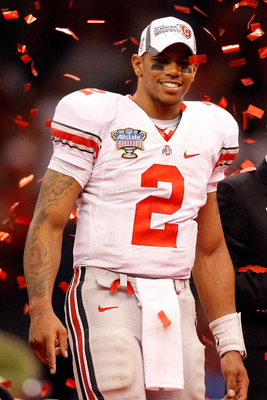 NEW ORLEANS, LA - JANUARY 04:  Quarterback Terrelle Pryor #2 of the Ohio State Buckeyes celebrates the Buckeyes 31-26 victory against the Arkansas Razorbacks during the Allstate Sugar Bowl at the Louisiana Superdome on January 4, 2011 in New Orleans, Loui