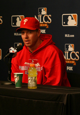 SAN FRANCISCO - OCTOBER 20:  Pitcher Roy Halladay #34 of the Philadelphia Phillies addresses the media before Game Four of the NLCS during the 2010 MLB Playoffs at AT&T Park on October 20, 2010 in San Francisco, California. Halladay is scheduled to pitch