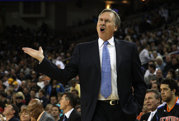 OAKLAND, CA - NOVEMBER 19:  Head coach Mike D'Antoni of the New York Knicks on the sidelines of their game against the Golden State Warriors at Oracle Arena on November 19, 2010 in Oakland, California. NOTE TO USER: User expressly acknowledges and agrees