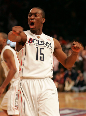 NEW YORK - MARCH 12:  Kemba Walker #15 of the Connecticut Huskies celebrates making a layup to send the game into overtime against the Syracuse Orange during the quarterfinals of the Big East Tournament at Madison Square Garden on March 12, 2009 in New Yo
