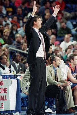 17 Mar 2000: Head Coach Jan van Breda Kolff of the Pepperdine Waves reacts to the action on court during round one of the NCAA Tournament Game against the Indiana Hoosiers at the Marine Midland Arena in Buffalo, New York. The Waves defeated the Hoosiers 7