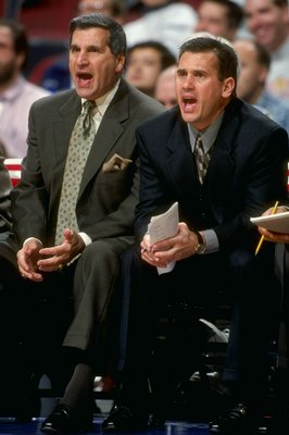 2 Dec 1998: Head coach Jim Harrick (L) of the Rhode Island Rams yells as he sits on the bench with assistant coach  Jim Harrick Jr. during the Great Eight Classic against the Utah Utes at the United Center in Chicago, Illinois. Rhode Island defeated Utah
