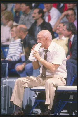1989-1990:  Head coach Jerry Tarkanian of the UNLV Rebels chews on a towel while watching a game. Mandatory Credit: Ken Levine  /Allsport