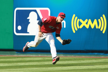 ANAHEIM, CA - JULY 11:  U.S. Futures All-Star Mike Trout #20 of the Los Angeles Angels of Anaheim makes a catch during the 2010 XM All-Star Futures Game at Angel Stadium of Anaheim on July 11, 2010 in Anaheim, California.  (Photo by Jeff Gross/Getty Image