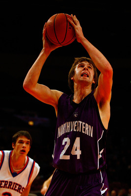 NEW YORK, NY - DECEMBER 20:  John Shurna #24 of the Northwestern Wildcats goes up for a shot attempt against the St. Francis Terriers during the Madison Square Garden Holiday Festival at Madison Square Garden on December 20, 2010 in New York City.  (Photo