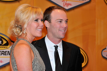 LAS VEGAS, NV - DECEMBER 03:  (R-L) NASCAR driver Kevin Harvick arrives with his wife DeLana at the NASCAR Sprint Cup Series awards banquet at the Wynn Las Vegas Hotel on December 3, 2010 in Las Vegas, Nevada.  (Photo by David Becker/Getty Images for NASC