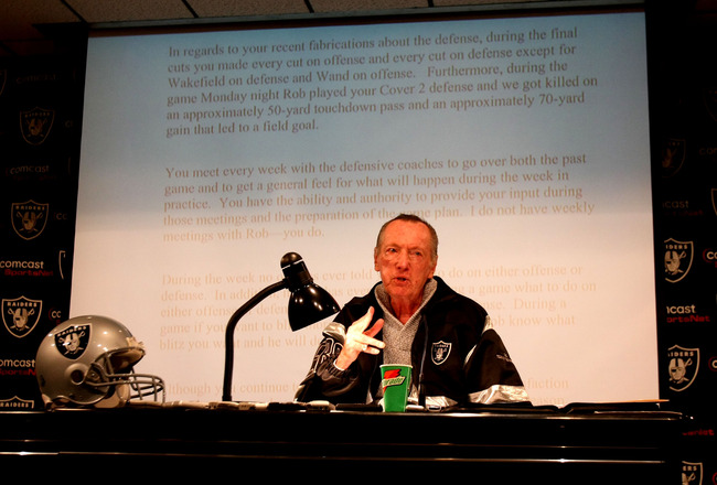 ALAMEDA, CA - SEPTEMBER 30:  Oakland Raiders owner Al Davis speaks during a press conference to announce the firing of head coach Lane Kiffin of the Oakland Raiders at the thier training facility on Septemer 30, 2008 in Alameda, California.  (Photo by Jed