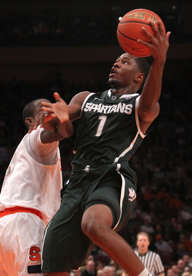 NEW YORK, NY - DECEMBER 07:  Kalin Lucas #1 of the Michigan Spartans lays the ball up  against Syracuse Orange during their game at the Jimmy V Classic at Madison Square Garden on December 7, 2010 in New York City.  (Photo by Nick Laham/Getty Images)