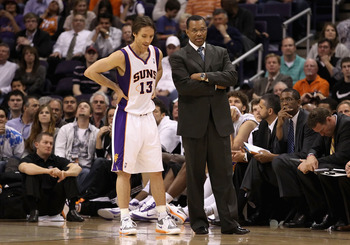 PHOENIX - DECEMBER 15:  Steve Nash #13 and head coach Alvin Gentry of the Phoenix Suns during the NBA game against the Minnesota Timberwolves at US Airways Center on December 15, 2010 in Phoenix, Arizona. NOTE TO USER: User expressly acknowledges and agre