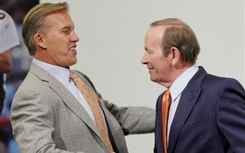 Pat Bowlen gave John Elway the Broncos reigns Wednesday. (AP Photo/ Ed Andrieski)