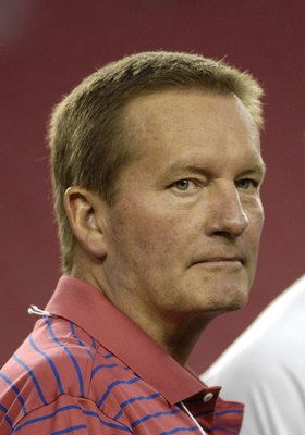 TAMPA, FL - OCTOBER 19: Commentator Jim Fassel during warmups as the Seattle Seahawks play the Tampa Bay Buccaneers at Raymond James Stadium on October 19, 2008 in Tampa, Florida.  (Photo by Al Messerschmidt/Getty Images)