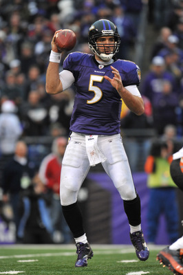 BALTIMORE, MD - JANUARY 2:  Joe Flacco #5 of the Baltimore Ravens passes against the Cincinnati Bengals  at M&T Bank Stadium on January 2, 2011 in Baltimore, Maryland. The Ravens defeated the Bengals 13-6. (Photo by Larry French/Getty Images)