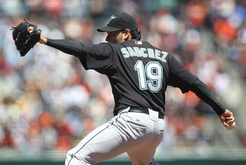 SAN FRANCISCO - JULY 29:  Anibal Sanchez #19 of the Florida Marlins pitches against the San Francisco Giants during an MLB game at AT&T Park on July 29, 2010 in San Francisco, California.  (Photo by Jed Jacobsohn/Getty Images)