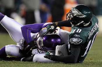 PHILADELPHIA, PA - DECEMBER 28:  Husain Abdullah #39 of the Minnesota Vikings intercepts a pass intended for DeSean Jackson #10 of the Philadelphia Eagles at Lincoln Financial Field on December 26, 2010 in Philadelphia, Pennsylvania.  (Photo by Jim McIsaa