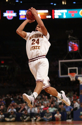 NEW YORK - NOVEMBER 27:  Trent Lockett #24 of the Arizona State Sun Devils shoots the ball against the LSU Tigers during the consolation game at Madison Square Garden on November 27, 2009 in New York, New York.  (Photo by Nick Laham/Getty Images)