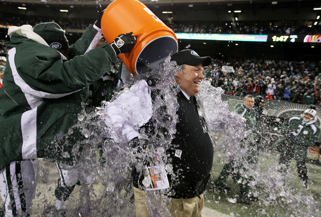 EAST RUTHERFORD, NJ - JANUARY 03:  Rex Ryan, Head Coach of the New York Jets, has Gatorade dumped on him by players at the end of the fourth quarter in celebration of their 37-0 victory over the Cincinnati Bengals at Giants Stadium on January 3, 2010 in E