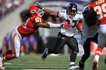 BALTIMORE - SEPTEMBER 13:  Ray Rice #27 of the Baltimore Ravens runs the ball against the Kansas City Chiefs at M&T Bank Stadium on September 13, 2009 in Baltimore, Maryland. The Ravens defeated the Chiefs 38-24. (Photo by Larry French/Getty Images)